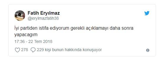 İyi Parti kurucusu Fatih Eryılmaz istifa etti.