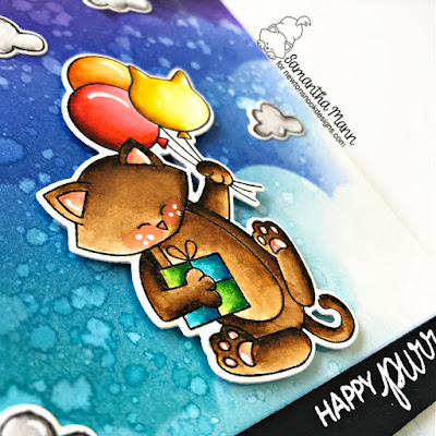 Happy Purr-thday Card by Samantha Mann for Newton's Nook Designs, Birthday Card, Newton's Nook Designs, Distress Inks, Ink Blending, Balloons #newtonsnook #distressink #balloons #birthday #cards #cardmaking #inkblending