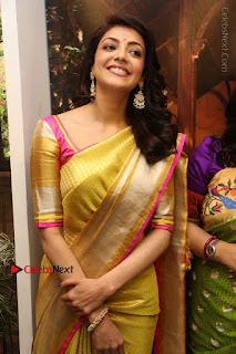 Actress Kajal Agarwal Stills in Golden Silk Saree at Trisha Sesigner Store Launch  0083.jpg