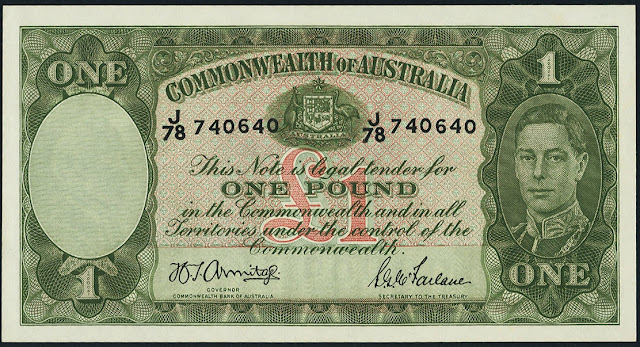 Australia One Pound banknote 1942 King George VI