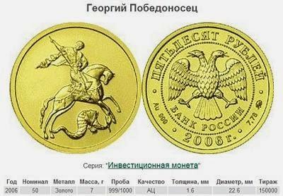 """Золотая монета """"Победоносец"""""""