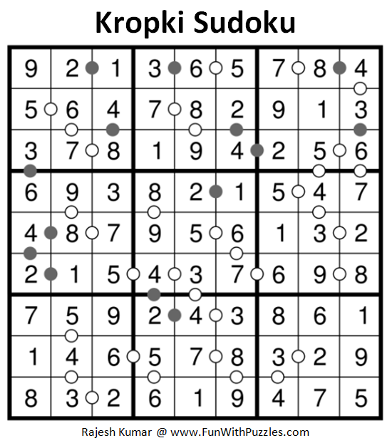 Kropki Sudoku Puzzles (Fun With Sudoku #237) Solution