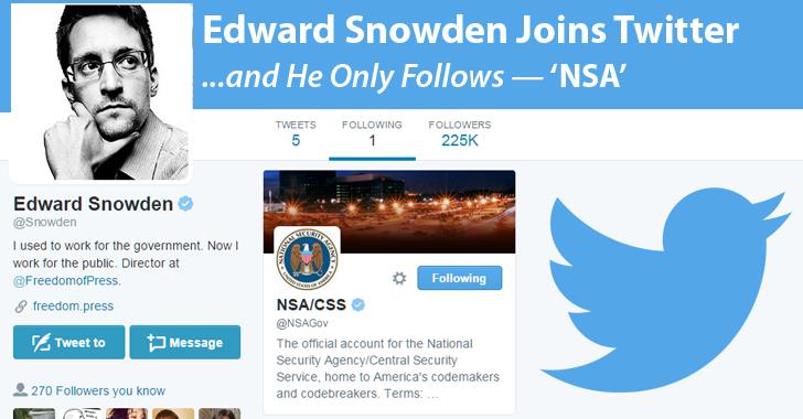 Breaking: Edward Snowden Joins Twitter & Only Follows 'NSA'