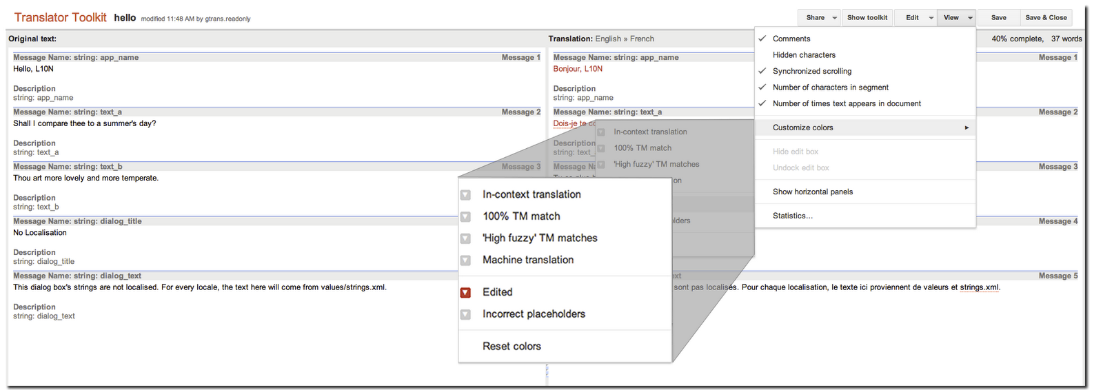 Google translator toolkit api