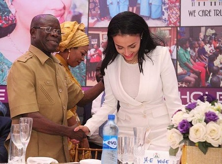 Edo State Governor, Adams Oshiomhole Gives His Wife a Kiss at Public Event in Benin (Photos)
