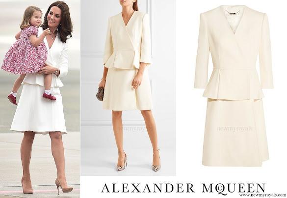 Kate Middleton wore ALEXANDER MCQUEEN Wool and silk-blend twill peplum coat
