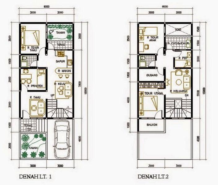 denah rumah minimalis ukuran 7x9 minimalis