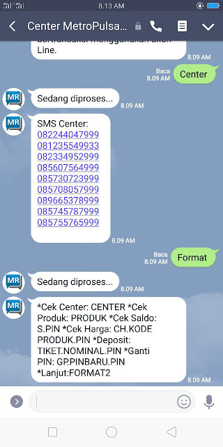 Contoh Reply Transaksi Via Line Metro reload