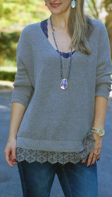 Grey lace trim sweater