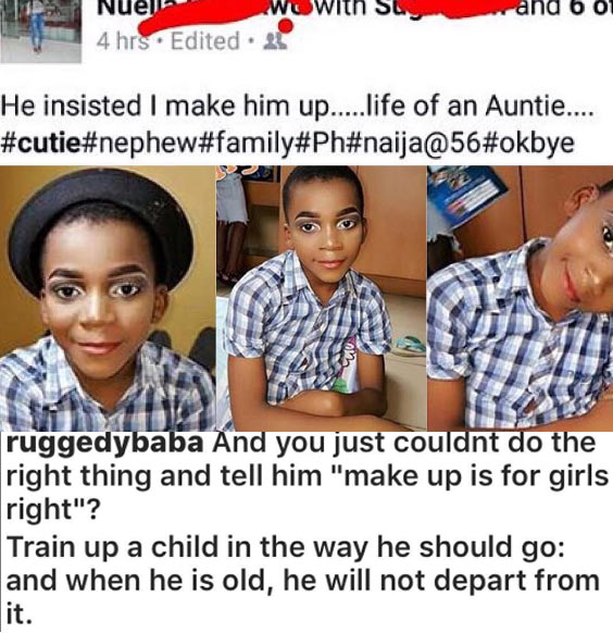 Bobrisky in the making: Ruggedman rebukes woman for makeup on little boy