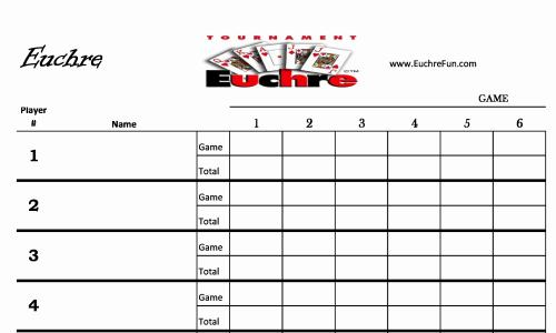 Charmant Euchre Score Cards For 20 People