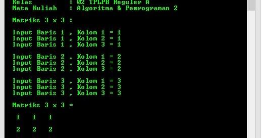 Program Membuat Matriks 3 X 3 Menggunakan Array Di C Bang Halim Berbagi