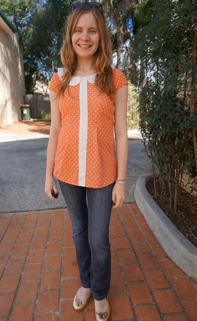 Raues eva polka dot peter pan collar peplum top jeans