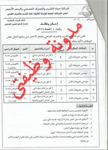 اعلان وظائف شركة مياه الشرب والصرف الصحى والتقديم متاح حتى 23/10/2016