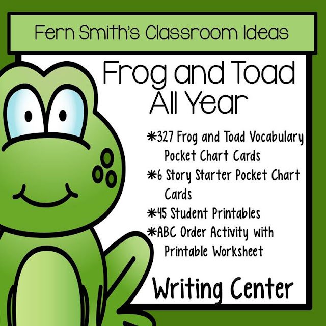 Fern Smith's Classroom Ideas FREE Story Starters Pocket Chart Cards for Frog and Toad All Year from the Frog and Toad All Year Writing Center and Book Companion at TeacherspayTeachers.
