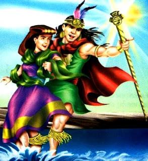 Leyenda: Manco Cápac y Mama Ocllo en dibujo a colores