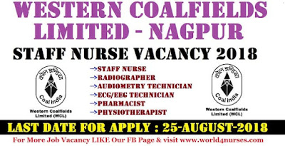 Staff Nurse vacancy in Western Coalfields Limited Nagpur