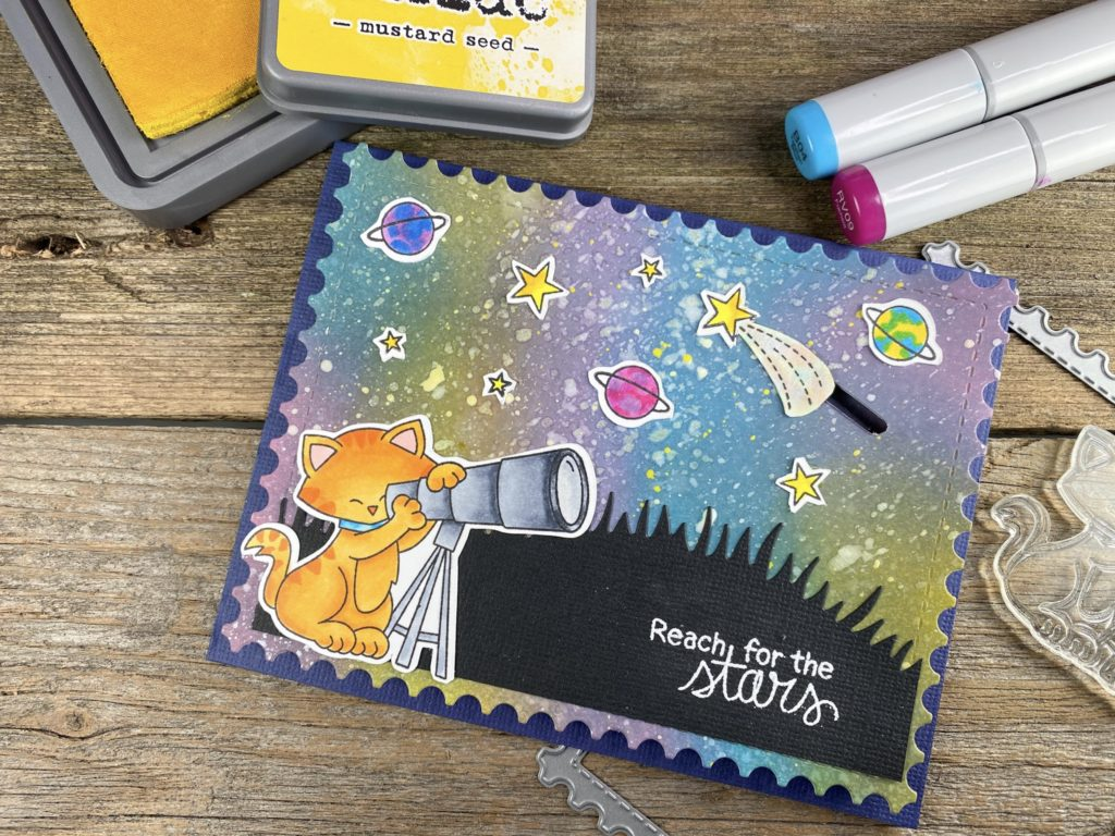 Reach for the Stars Card by April Guest Designer Jennifer Hartsgrove | Cosmic Newton Stamp Set and Framework Die Set by Newton's Nook Designs #newtonsnook #handmade