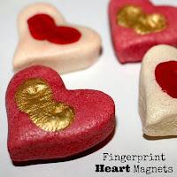 Salt dough fingerprint heart magnet - salt dough craft ideas for kids