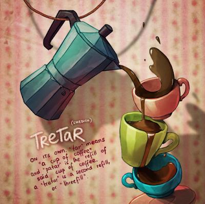 tretar (palavra suiça) mostra várias xicaras equilibradas entre si e muito café
