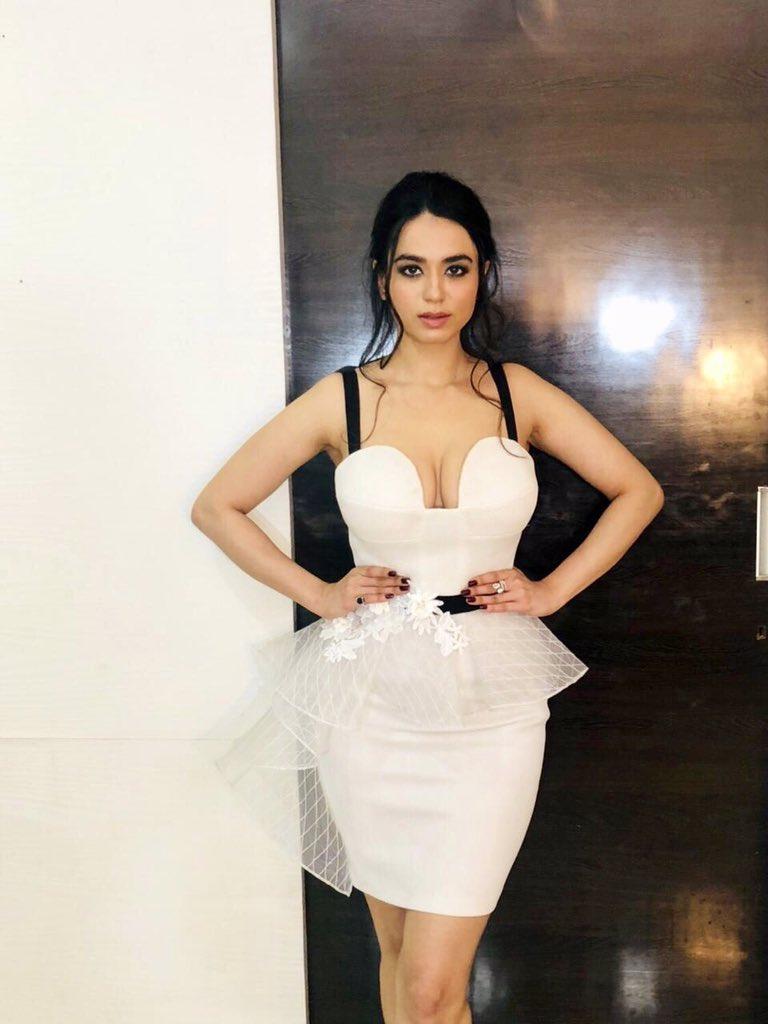 Soundrya Sharma in white mini skirt