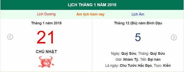 Xem ngày tốt xấu, giờ hoàng đạo - Xem lịch Chủ Nhật ngày 21 tháng 1 năm 2018