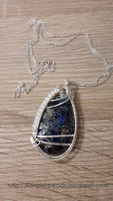 Silver pendant necklace with jasper