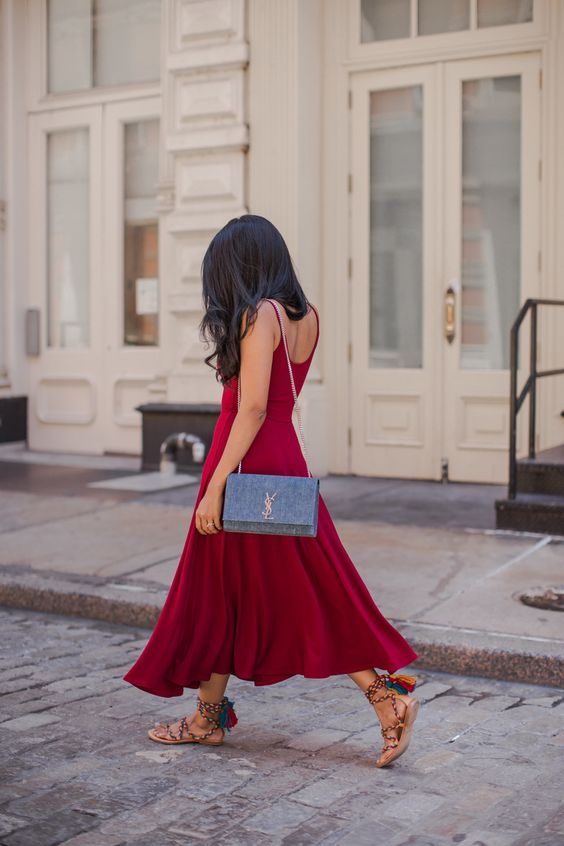 Walk In Wonderland - Red Maxi Dress + Saint Laurent Blue Denim Bag + Rainbow Tassel Lace Up Gladiator Sandals