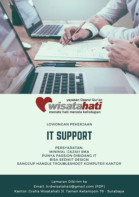 lowongan kerja IT Support wisata Hati surabaya