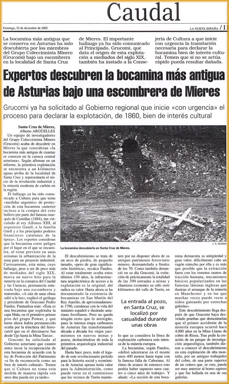 descubrimiento de la bocamina más antigua de Asturias, bajo una escombrera en Mieres: