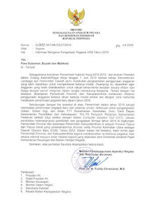 Surat Menpan RB Nomor : B/2631/M.PAN-RB/07/2016 Tentang Informasi Mengenai Pengadaan Pegawai ASN Tahun 2016