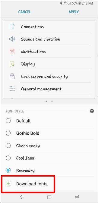 Come aggiungere nuovi font ai telefoni Samsung