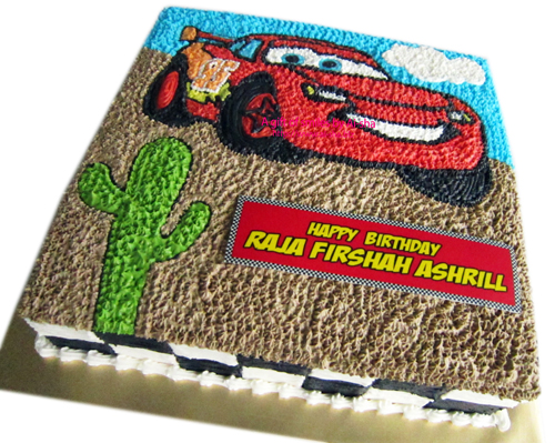 Birthday Cake Disney Cars Buttercream Drawing