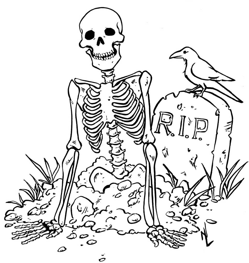 Skeleton Halloween Coloring Pages Printable