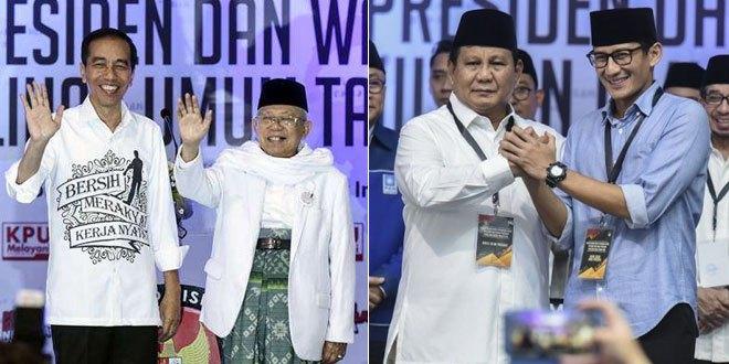 Komisi Pemilihan Umum RI menetapkan Joko Widodo (Jokowi)-Ma'ruf Amin dan Prabowo Subianto-Sandiaga Uno sebagai calon presiden-wakil presiden untuk pemilihan umum 2019.