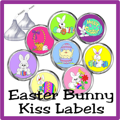 Give some bunny special in your life a cute gift with these Easter Bunny Kiss labels. They are such a fun and easy gift idea for your Easter party or a special friend or loved one.