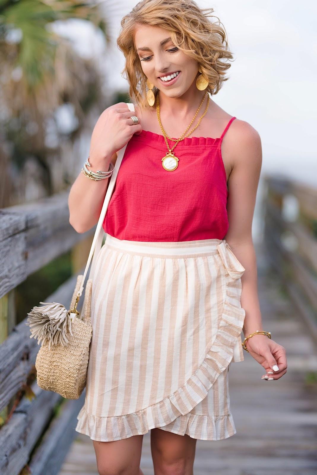 Ivory and White Ruffle Wrap Skirt - Something Delightful Blog