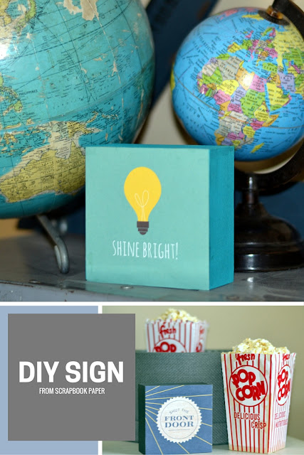DIY sign from scrapbook paper