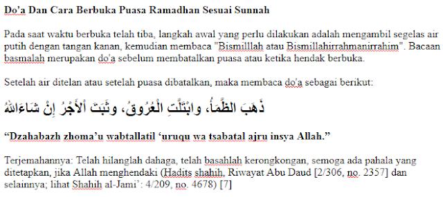 Do'a Dan Cara Berbuka Puasa Ramadhan Sesuai Sunnah