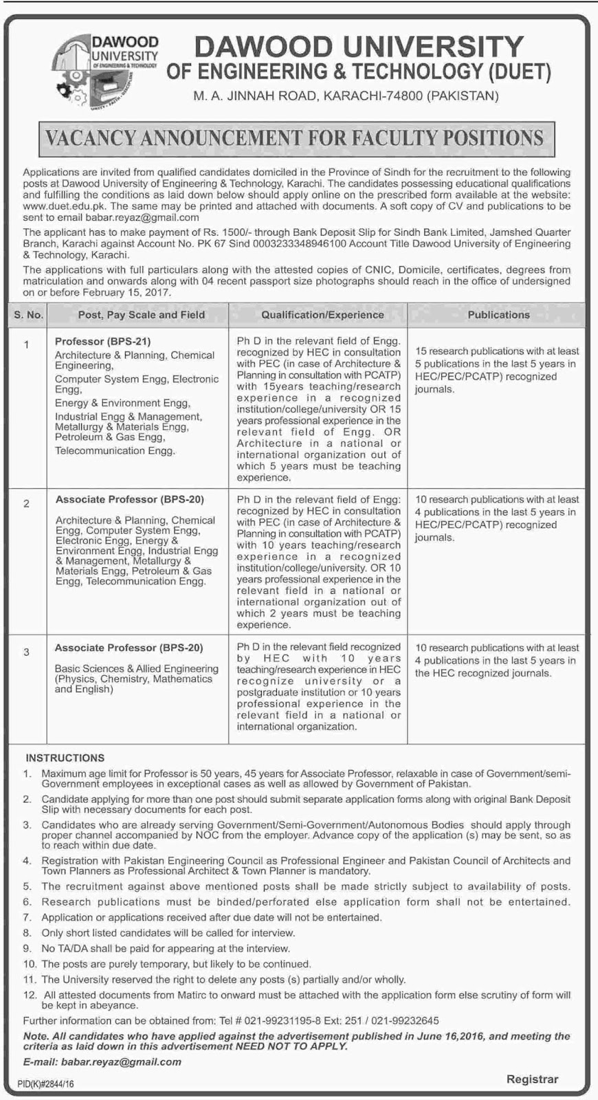 Dawood University Of Engineering & Technology Karachi Jobs