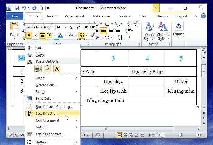 cách xoay chữ trong bảng trong word
