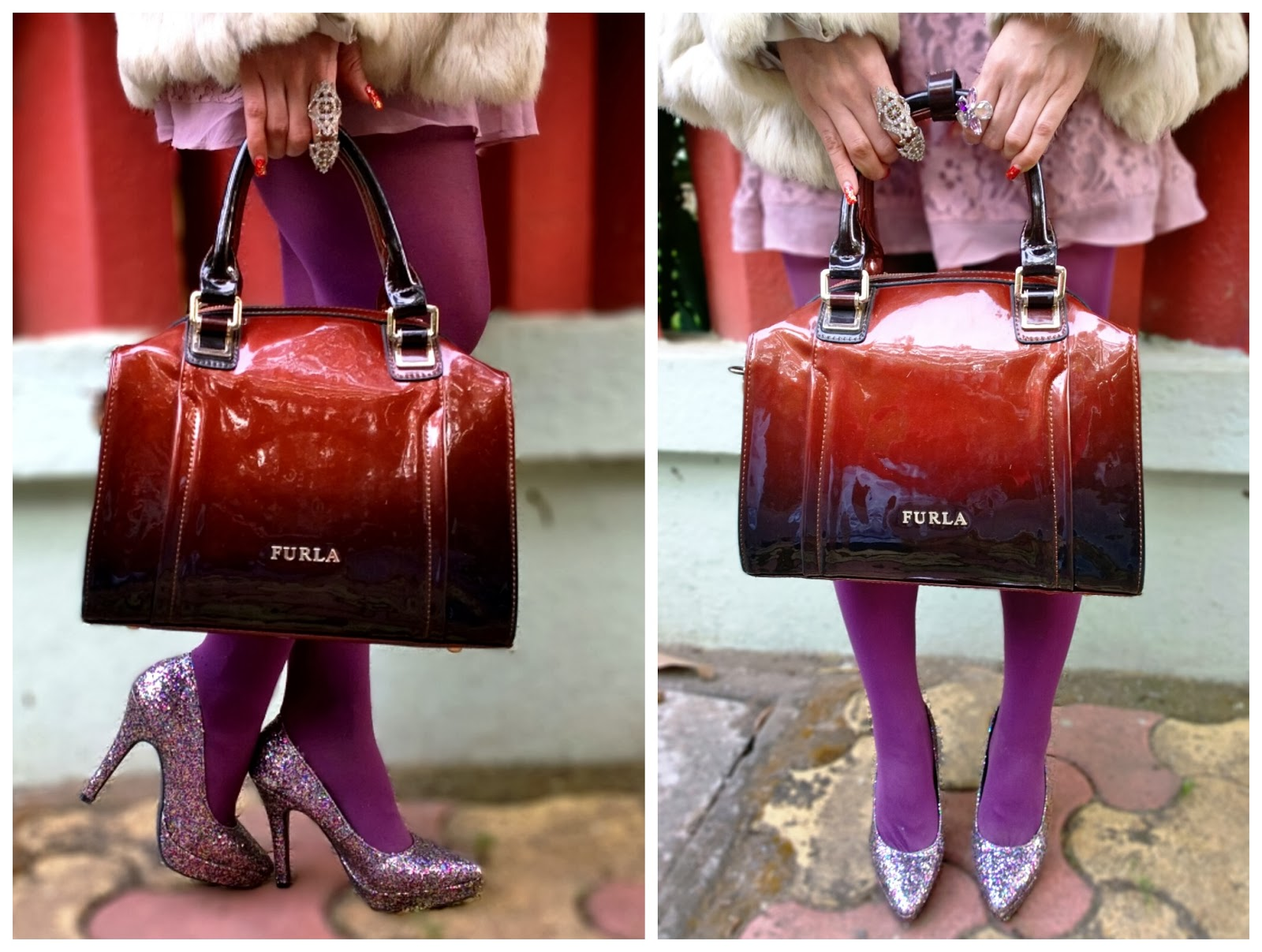 Furla bag , H&M Glitter Pumps
