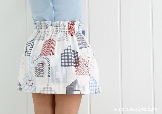 Falda con goma en cintura. Fácil de coser.