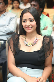 Swetha Basu in a Black Sleeveless Top Long Skirt at Mixture Potlam Movie Audio Launch 059.JPG