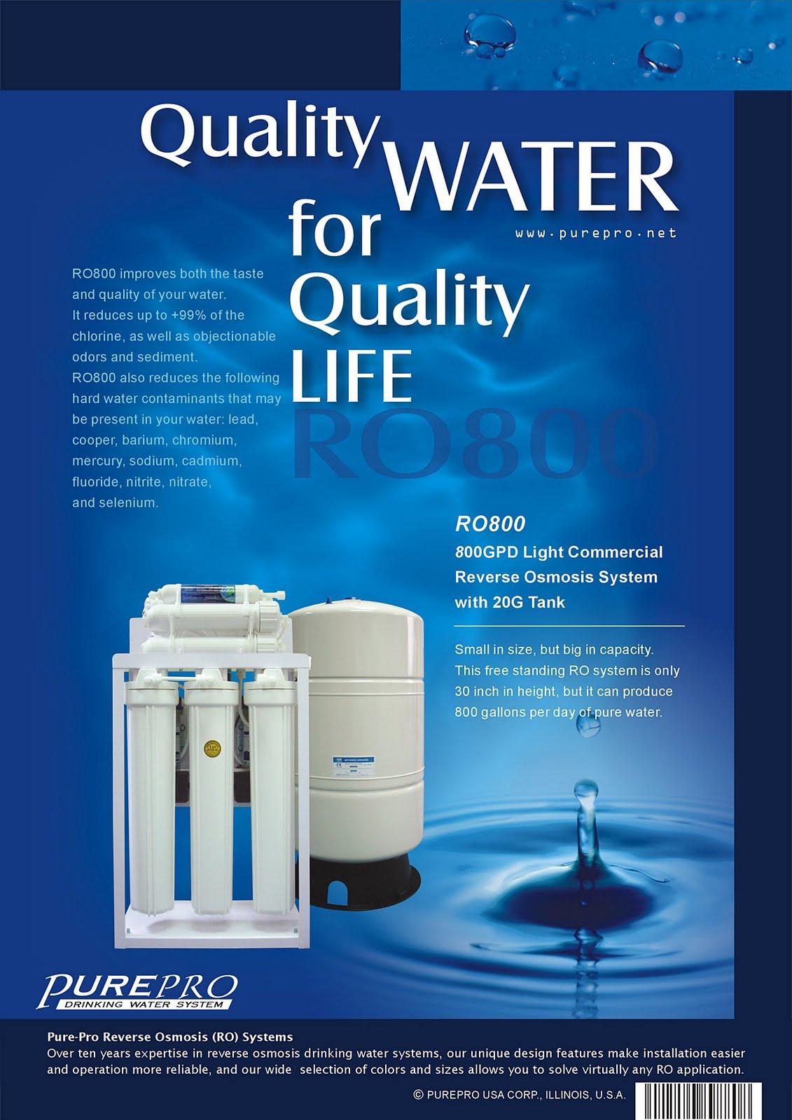 美國PurePro® RO800 : 商用餐飲RO淨水器 - 800加侖超大製水量.配20加侖儲水桶