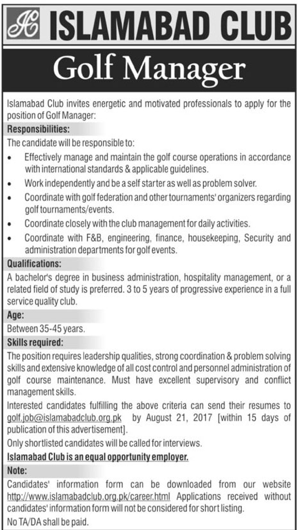 Golf Manager Jobs in Islamabad Club