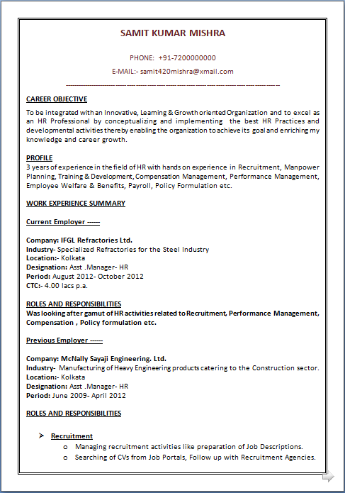 mba hr resume and resume samples with free download mba hr resume