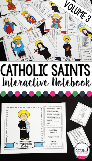 Catholic Saints facts for kids that can be used as an interactive notebook, flip book or flashcards.  Includes 28 beloved saints.
