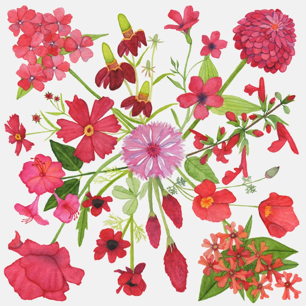 watercolor red flower carpet painting