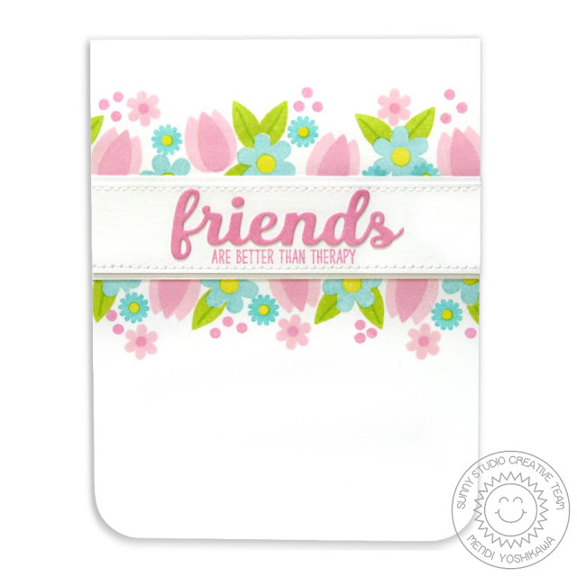 Sunny Studio Stamps: Friends & Family Flower Border Card by Mendi Yoshikawa